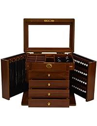 XYLUCKY Caja de joyería de múltiples funciones de madera sólida (color antiguo)