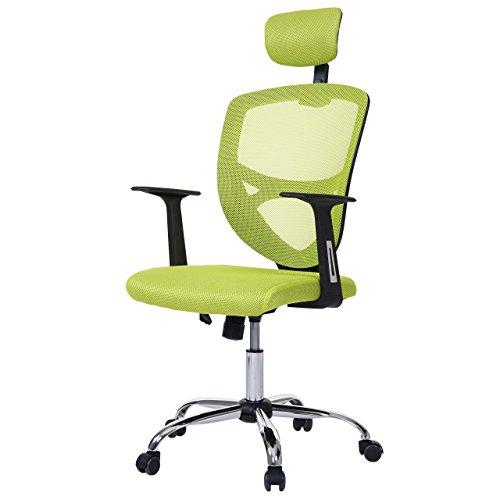 Mendler Bürostuhl Barrie, Drehstuhl Schreibtischstuhl Chefsessel, Netzbezug Textil grün