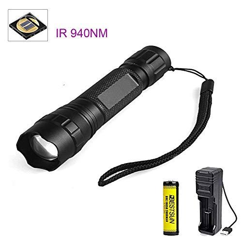 IR Taschenlampe 940nm, Nachtsichtgeräte für Infrarot Taschenlampen Zoomfähige, Zur Verwendung mit Jagd und Nachtsichtgeräten (Infrarotlicht ist für menschliche Augen Nicht sichtbar)