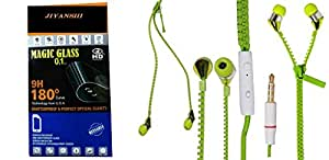 Jiyanshi Combo of Screen Guard / Screen Protector & Earphone Zip Style With Deep Bass Green Compatible For Micromax Bolt Q336