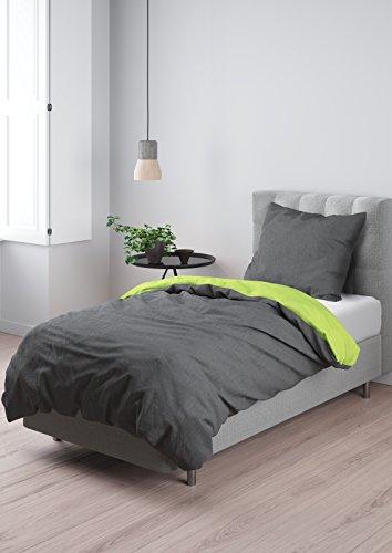 Aminata - hochwertige Wende-Bettwäsche uni 135x200 cm dunkelgrau anthrazit hellgrün Baumwolle Uni-Bettwäsche einfarbig mit Reißverschluss RV grün (135x200 cm 80x80 cm) (Jersey Qualität Jugend)