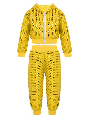 iiniim Kinder Jungen Mädchen Kostüm Pailletten Langarm Kapuze Jacke mit Hose für Hip-Hop Jazz Tanz Kostüm Gr.98-164 Gelb ()