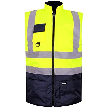 Mens Reversible Fleece Lined Bodywarmer Hi Vis Security Gilet Waistcoat Size ...