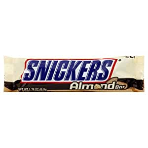 SNICKERS ALMOND BAR - 50g - BY MARS - AMERICAN CANDY BAR - 12 BARS