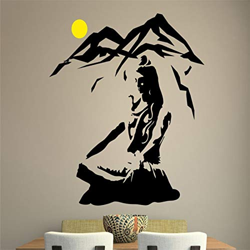guijiumai Lord Shiva Wall Sticker Yoga Lotus Pose Decalcomania da Muro in Vinile Mountain Meditation Decorazione della casa Dio indù Rimovibile Arte murale Nero 57x60cm