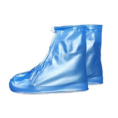1 Pair Men Women Premium Rainproof Shoes Covers, Unisex PVC Anti-slip Snow Rain Boot for Adult, Zipper and Drawstring Design