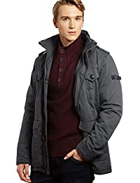 VEDONEIRE Mens Washed Cotton Padded Jacket (3087 Grey) coat winter