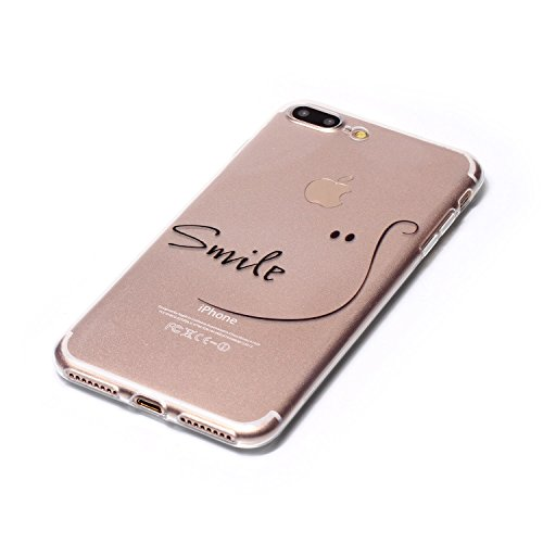 "Aeeque® Ultra Mince Coque de Protection TPU Silicone Case pour Téléphone Portable iPhone 8 Plus Anti Rayure Rose Motif Design Anti Choc Bord Cristal Housse pour iPhone 7 Plus/ iPhone 8 Plus 5.5"" B - Caractere Smile"