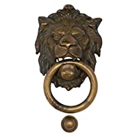 Ellas-Wohnwelt Door Knocker Patinated Brass Lion Head Animal