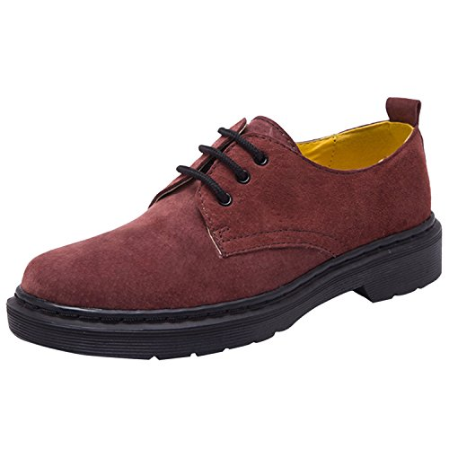 Oasap Femme Chaussures Oxford Bout Rond A Lacet Burgundy