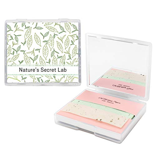 Face Oil Blotting Paper Sheets with Makeup Mirror Green Tea Oil Absorbing Sheets made Japan