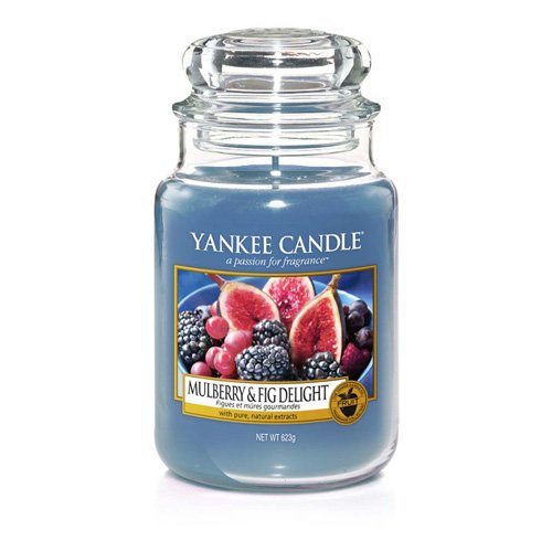 Yankee Candle Glaskerze, groß, Mulberry & Fig, blau, 9,9 x 9,9 x 16,8 cm (Apple Wreath Red Yankee Candle)