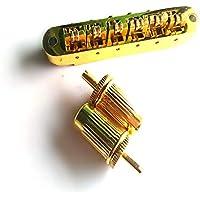 Liseng - Puente de latón con rodillo ajustable Tune-O-Matic aleación de zinc y puente de rodillo de latón para guitarra eléctrica LP dorado