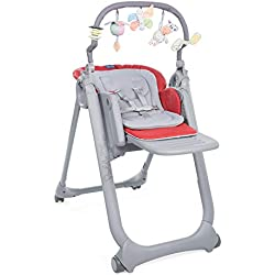 Chicco Chaise Haute Bébé Polly Magic Relax 4 Roues Scarlet - Dossier Inclinable