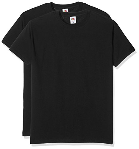 Fruit of the Loom Herren T-Shirt Valueweight T 2er Pack Schwarz (Negro)