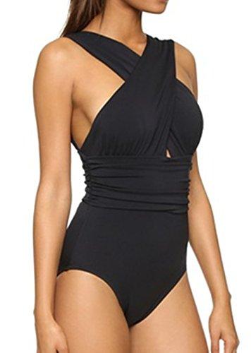 BLZ High Quality Blazar Bañadores Mujer Negro Tallas Grandes Halter Neck Trajes de Baño Una Pieza Push Up Acolchado Monokini para Playa, Piscina, Fiesta, Natación, S/4XL