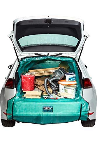 Bagy® - DAS ORIGINAL | Kofferraumschutz | Auto-Transportsack | Kofferraummatte | Für alle Fahrzeug-Modelle | Auto Transport-Tasche für Gartenabfälle, Holz & Bauschutt | Universalgröße M-XXL |