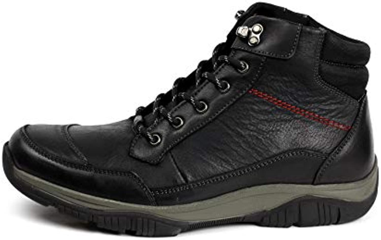 JAS Hombre Motero Cuero Elegante Cordones Botines Chelsea Informal Zapatos de Trabajo