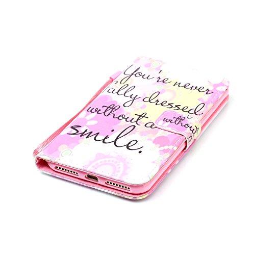 """MOONCASE iPhone 7 Plus Étui, [Smile] Dessin Motif Bookstyle PU Cuir Flip Housse Etui à rabat Portefeuille TPU Case Cover avec Strap Lanière pouriPhone 7 Plus 5.5"""" Smile"""
