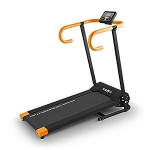 Klarfit Pacemaker X1 Tapis de Course (jusqu'à 10 km/h, écran LCD Clair avec rétro-éclairage, Fonctions de l'ordinateur de Bords : Vitesse, Temps, Distance, pouls, Calories) Noir & Orange