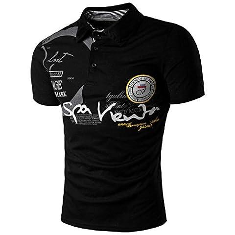 Malloom Männer Stilvolle Sport-Knopf Kurz-sleeved Turn-down Kragen Polo-Shirt (S,