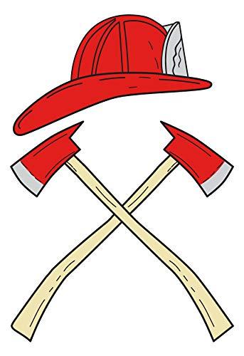 dekodino® Wandtattoo Feuerwehrhelm mit Axt Kreuz Wandsticker Kinderzimmer