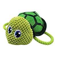 quanju cheer Pet Squeaky Bite Play Toy Dog Puppy Cute Cotton Rope Sea Turtle Shape Plush Doll Green L