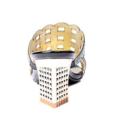 LvYuan Da donnaFormale-Aperta-Quadrato-Finta pelle-Nero / Beige almond