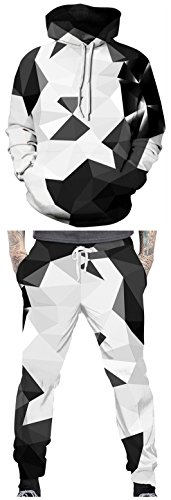 TDOLAH Herren Casual Trainingsanzug Hoodie Jogginghose mit Aufdruck Streetwear Sweatshirt (XXL, 001 schwarzer Kristall - Hose)