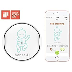 Sense-U Baby Monitor Breathing Temperature Rollover Movement Portable Alarm Alert you for No Breathing Movement, Stomach Sleeping, Overheating and Getting Cold(2019 Updated Version) BT 5 inch screen Temperature indication / 5 lullabies Remote control pan and tilt mechanism 7