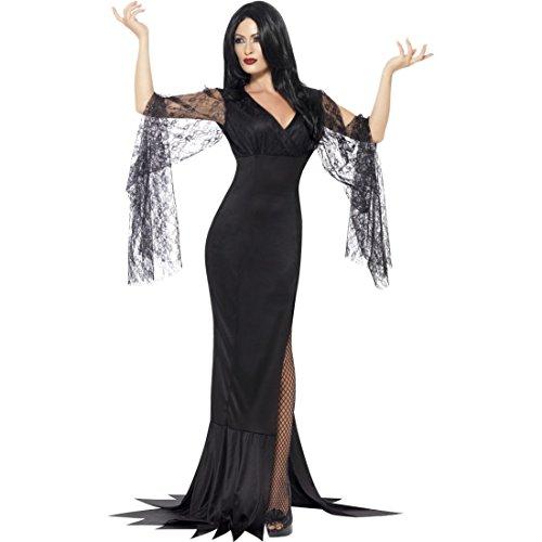 Vestito carnevale dark lady Travestimento vedova nera S 40/42 Outfit angelo nero Abito da strega Costume da donna gothic queen Look halloween vampiressa