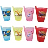 Sipper With Straw , Glass Sipper Assorted Colours , The All-in-One , Cartoon Printed Designer Glass Sippers With Straw , Best Gifts - Children Food Toy , Best For A Birthday Party BY BigMart (PACK OF 8) (RANDOM COLOUR)