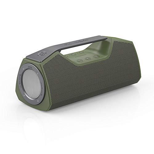 Power Lautsprecher (Wharfedale Exson M Bluetooth Speaker- Tragbarer Lautsprecher mit Multifunktions LED Licht und Power Bank, Freisprechfunktion, Wireless, wasserdicht (IPX7), 25 Watt, TWS, 1 x USB 3.0 Type c)