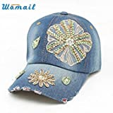 D : Womail Good Deal Fashion Women Hip-Hop Baseball Cap Full Rhinestones Flat Snapback Hat Gift Included Component 1 pc