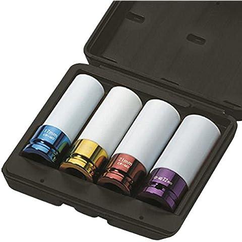 """JBM 52338-Set de 4 vasos de llave de vaso para extracción de rueda (1/2""""/1,27 cm)"""
