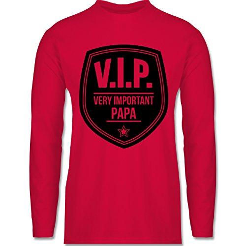 Vatertag - V.I.P. - Very important Papa - Longsleeve / langärmeliges T-Shirt für Herren Rot