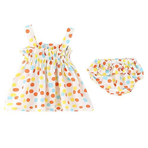 7dbb41facb86 UOMOGO Bambino Ragazza Vestito Fragola Stampato Gonna Bretelle Principessa  Abito semplici Palloncino Bambola neonata a Pois