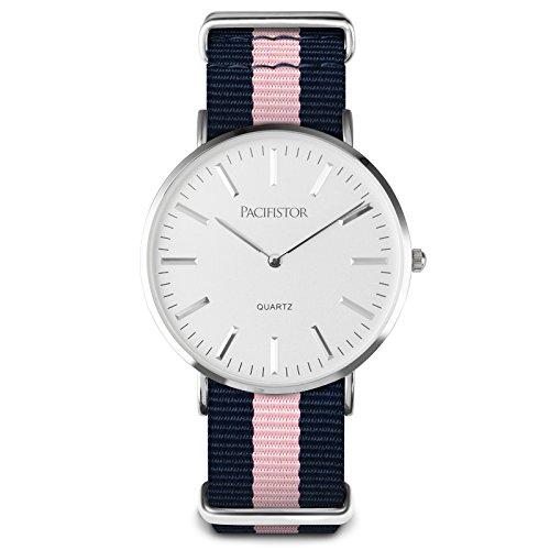 PACIFISTOR-Unisex-Analogue-Quartz-Wrist-Watch-Ultra-Thin-Slim-Classic-Interchangeable-Strap