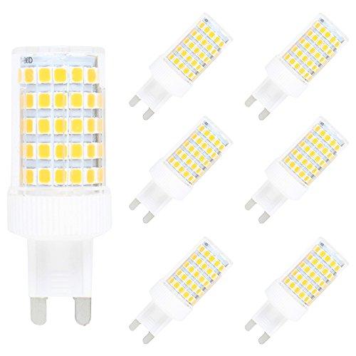 6er-Pack G9 10W Dimmbar LED Lampe,86 SMD 2835,800LM,Warmweiß 3000K,AC 220-240V,360º Abstrahlwinkel - Ge Halogen-leuchten