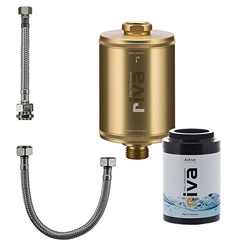riva Filter | Trinkwasser Filter-Set Active | WASSERHAHNFILTER - Gesundes Trinkwasser | AKTIVKOHLE - Reduziert Schadstoffe - schont Nährstoffe | Inkl. flexiblem Schlauchanschluss-Set | Gold