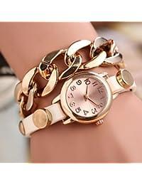 Relojes Hermosos, Reloj de moda comodo cadena de oro de las mujeres ronda dial de cuero de cuarzo banda braceiet analógica (color surtidos) ( Color : Rojo , Talla : Para Mujer-Una Talla )