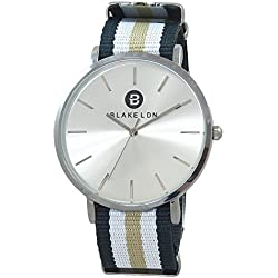 Blake LDN Ladies Gent's Unisex Steel Nato Nylon Fabric Strap Quartz Women's Men's Wrist Watch with Silver Sunray Shiny Analogue Dial and Navy Blue White and Beige Brown Fashion Zulu Maratac Band