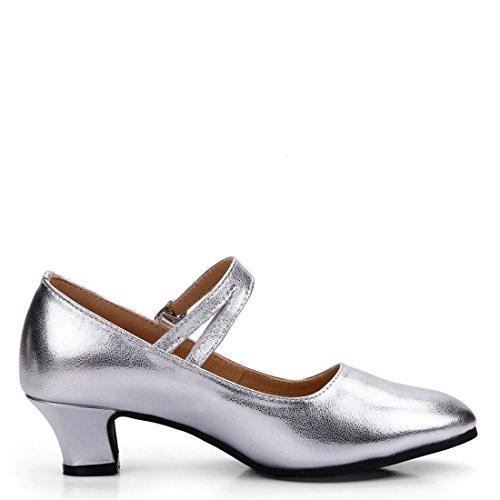 Wxmddn Scarpe da ballo latino femminile scarpe da danza argentata adulta scarpe da ballo in pelle morbida da sole da 3,5 cm Argento 3.5cm outdoor