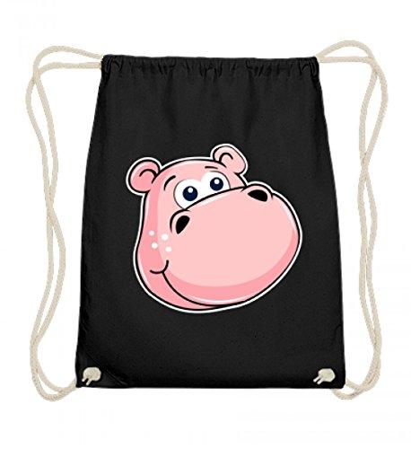 (Shirtee Hochwertige Baumwoll Gymsac - Rosa Nilpferd Mit Grossen Augen - Zoo Hippo Tierbaby Flusspferd Streichelzoo Kuscheltier)