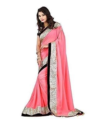 Aabha N Alia Fancy Border Plain Georgette Saree with Blouse Piece 027