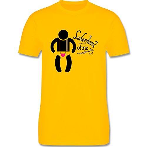 Oktoberfest Herren - Lederhosn? I schau aa ohne wunderschee aus! - Herren Premium T-Shirt Gelb