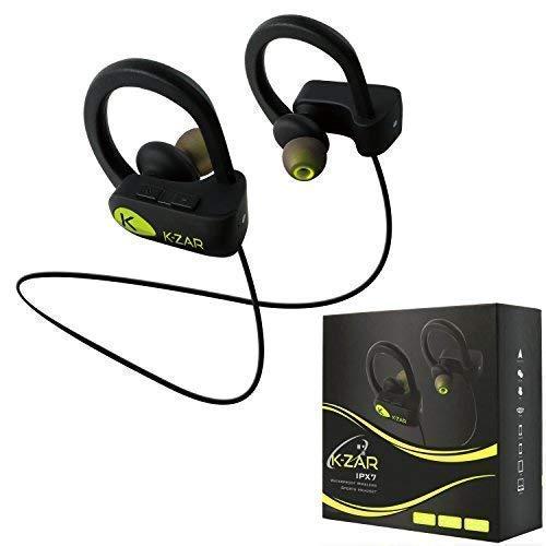 K-ZAR Écouteur Bluetooth Sport IPX7 Etanche Casque sans Fil Stéréo avec Mic Intra-Auriculaires Anti-Bruit Oreillettes Bluetooth Mains-Libres Batterie Longue durée pour Course/Gym/Jogging