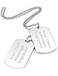 Personalised Double Dog Tag / Identity Pendant Necklace - Both Tags Engraved - Enter Your Custom Text