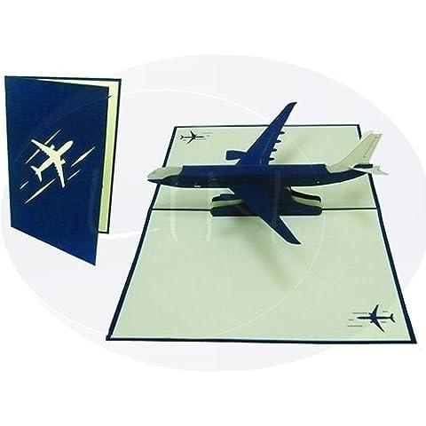 LIN - Pop Up 3D Tarjeta de felicitación, Avión de pasajeros, (#147)