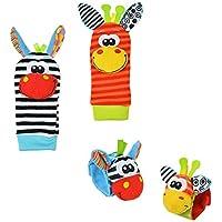 Westeng 4PCS Bébé Jouet Poignet Mignon Animal Donkey Doux Peluche Poignet Chaussettes Jouets hochet avec Anneau Bell pour Enfant Cadeau 0-6 mois bébé